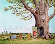 Love this Pooh painting for a wall mural in a guest or small child's room