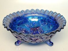 Iridescent Purple Rose Pattern Carnival Glass Bowl with 3 Feet by L.E. Smith Glass Company  Sale ~ $29.99