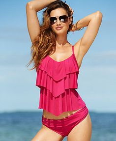 ecdf341a6353d Kenneth Cole Reaction Tiered Ruffle Tankini Top   Hipster Bikini Bottom  also in Mint and at