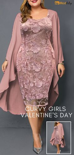 Plus Size Pink Chiffon Cardigan and Sheath Dress Celebrate the., Plus Size Pink Chiffon Cardigan and Sheath Dress Celebrate the day of love in a romantic dress with a flower print . Shop now at mod. Social Dresses, Prom Dresses, Sheath Dresses, Chiffon Cardigan, Dress Plus Size, Wedding Dress Shopping, Pink Outfits, Heels Outfits, African Fashion Dresses
