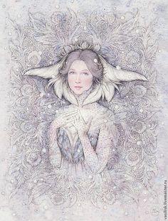 Купить Зима (в частной коллекции) - зима, Снег, снежный, зимний вечер, сказочный, сказка