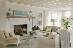 Painted Brick Fireplace Top 25 Benjamin Moore and Sherwin Williams White Paint Colors Tiny Living Rooms, Cottage Living Rooms, Coastal Living Rooms, Living Room Colors, Living Room Decor, Cottage House, Living Walls, Small Living, Luxury Interior Design