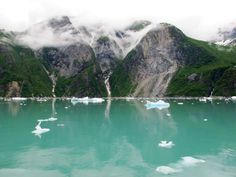 Tracy Arm Fjord, Inside Passage, Alaska.  I've been looking for a photo to shown how beautiful the inside passage is and the glacier silt colored waters AND the baby blue ice chunks. I found a photo that shows them all.  Those blue ice chunks were so strange.