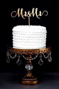 Mr and Mrs Wedding Cake Topper Gold Metallic