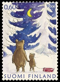 Finnish stamp father and son bear