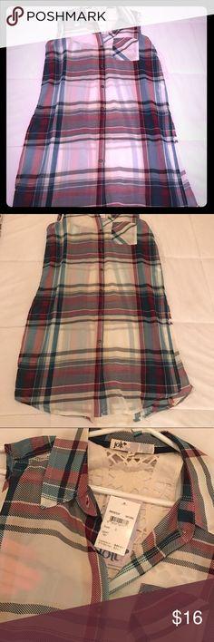 Jolt sheer flannel printed long button down, NWT Jolt sheer flannel printed long button down, NWT Jolt Tops Blouses