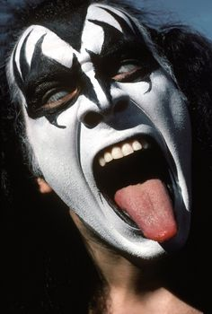 Gene Simmons of the rock and roll band KISS before performing at Cadillac High School's homecoming in Cadillac, Michigan on October 1975 Photograph by Waring Abbott Rock And Roll Bands, Rock Bands, Rock N Roll, Kiss Images, Kiss Pictures, Gene Simmons Kiss, Gene Simmons Tongue, Kiss Music, Heavy Metal Art
