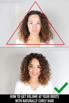 Hairstyles Videos How to Get Volume Prevent Flat Roots & the Triangle Shape with Curly Hair.Hairstyles Videos How to Get Volume Prevent Flat Roots & the Triangle Shape with Curly Hair Curly Hair Styles, Thin Curly Hair, Curly Hair Tips, Curly Hair Care, Natural Hair Styles, Natural Beauty, Naturally Curly Hair, Hairstyles For Curly Hair, Natural Curl Hairstyles