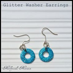 would be cool to do this with any old (but still pretty) nail polish, too! | Mellywoods Mansion: Glitter Washer Earrings #diyjewelery