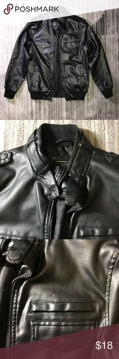 Buffalo David Bitton Sturdy Bomber Moto Jacket Buffalo David Bitton sturdy jacket. One pockmark over left chest pocket (photos 2 and 3) but still a gorgeous and great quality jacket.  Approx length: 27.5 inches Approx pit to pit: 20 inches Buffalo David Bitton Jackets & Coats Bomber & Varsity