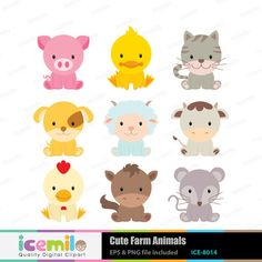 Cute Farm Animals Digital Clipart by IcemiloClipart on Etsy, $5.00