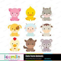Cute Farm Animals Digital Clipart by IcemiloClipart on Etsy, $5.00