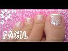 unha do pé simples e fácil (iniciante) - YouTube Simple Toe Nails, Pretty Toe Nails, Pretty Toes, Fancy Nails, Pedicure Nail Art, Toe Nail Art, Manicure And Pedicure, Toe Nail Designs, Simple Nail Designs