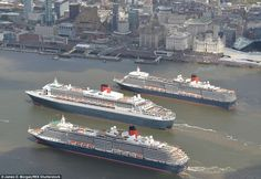 The vessels, named the Three Queens, perform their impressive turn in front of thousands o...