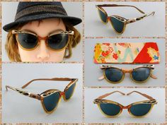 Heres a fine pair of classic, 1950s vintage cat-eye glasses with hand-made silk kimono carrying case. The glasses are made of combination aluminum and plastic frames with fancy scrolling and rhinestones on the brows and arms. The arms are marked Liberty 5-1/2 USA. The frames have light strength, bifocal prescription Rx lenses which youll probably want to replace with regular sunglasses or your own prescription (these would make for great eyeglasses as well as sunglasses).  The glasses will…