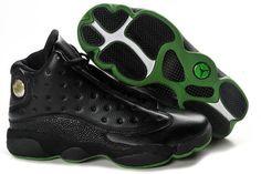 buy popular f2247 3e18a Cheap Men s Nike Air Jordan 13 Shoes Black Dark Green For Sale