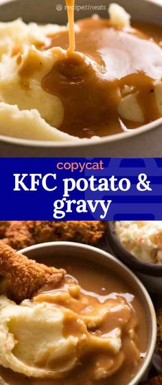 KFC Potato and Gravy is known for the soft, creamy mashed potato doused with their signature gravy, perfect for dunking in crusty Fried Chicken and fries. Kfc Gravy Recipe, Kfc Chicken Recipe, Homemade Fried Chicken, Recipe Tin, Baked Chicken Recipes, Fried Chicken Gravy, Recipe Spice, Gravy For Mashed Potatoes, Chicken Mashed Potatoes