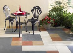 Concrete Stain Colors to Transform a Patio- used several concrete floor stain colors, including earth tones and cool gray-blue, for the geometric shapes, to create an attractive, modern design. Concrete Stain Colors, Floor Stain Colors, Painting Concrete, Stained Concrete, Concrete Patio, Concrete Floors, Interior Color Schemes, Interior Paint Colors, Interior Painting