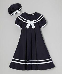 Another great find on #zulily! Navy Nautical Dress & Hat - Toddler & Girls #zulilyfinds