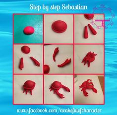 Sebastian little mermaid crab fondant tutorial