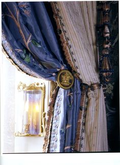 Guest room curtains, embroidery by Lesage.  From FIFTH AVENUE STYLE by Howard Slatkin