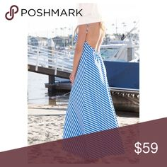 Arrives 4/20  Light Blue and White Maxi Dress Light Blue and White Maxi Dress  Must have maxi dress for the summer  Fabric: 95% Polyester & 5% Spandex Sizes is S/M or M/L Dresses Maxi