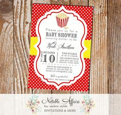 Ready to Pop  - Popcorn and Polka Dots Baby shower Invitation - Red and Yellow
