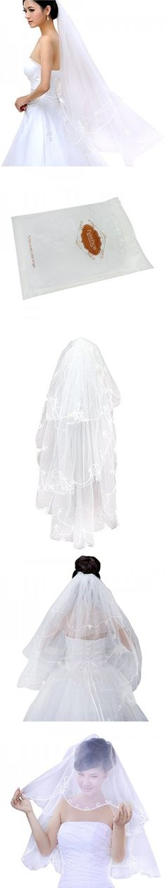 Women Elegant White 1 Tier Short Cut Edge Wedding Veil Bridal Fingertip Veils 1.5M