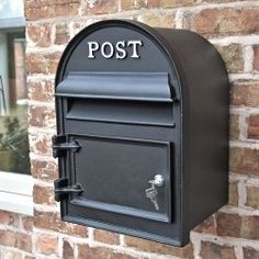 Solid Cast iron wall mounted post box with a front opening door Post Box Wall Mounted, Vintage Mailbox, Wall Mount Mailbox, House Front, Front Porch, Front Gates, Box Houses, Personalised Box, Door Furniture