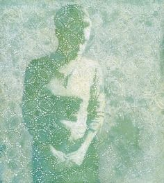 oil painting of a figure on a crochet lace background green by susan hall