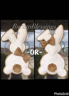 Hand-Painted Shabby Chic Mr. -OR- Mrs. Easter Bunny Burlap Door Hanger