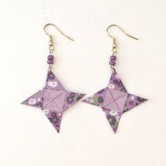 Boucles d'oreilles étoile à 4 branches en papier origami de la boutique LatelierdIsabo sur Etsy