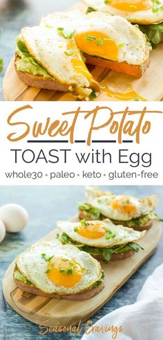Sweet Potato Toast with Egg Keto approved paleo friendly and gluten free this breakfast is packed with nutrition and will keep you full until lunch Seasonal Cravings Sushi Recipes, Brunch Recipes, Diet Recipes, Paleo Lunch Recipes, Pasta Recipes, Cooking Recipes, Cooking Tools, Mexican Recipes, Soup Recipes