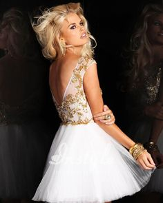 short Cap Sleeve Homecoming Dresses | short prom dress with heavily beaded and sequined bodice, cap sleeves ...