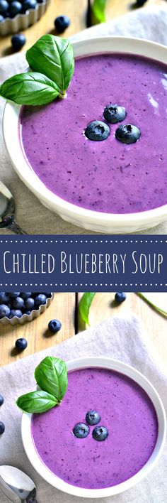 This Chilled Blueberry Soup makes the most of fresh summer blueberries and offers a surprising pop of flavor! Perfect for brunch with the ladies or a simple weekend lunch, this soup is as delicious as (Summer Soup Recipes) Blueberry Recipes, Fruit Recipes, Summer Recipes, Soup Recipes, Cooking Recipes, Healthy Recipes, Cold Soups Recipes, Brunch Recipes, Easy Recipes