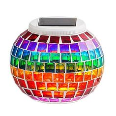 Solar Mosaic Garden Lights, MUEQU Color Changing Crystal Glass Globe Ball Night Lights, Solar Table Lamps LED Magic Lights Decorative for for Home, Garden,Yard, Patio, Party, Christmas (Rainbow)  Solar powered outdoor table lamp,100% brand new, made of high quality mosaic crystal glass and high efficient solar panel.  2 Modes, color-changing (RGB) and single mode, ideal for parties, deck, garden, patio, yard, lawn,balcony, pool side, indoor/ outdoor decors.  This solar powered mosaic g...