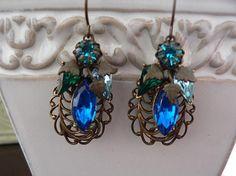OCEAN HUES VICTORIAN dangle earrings by tonytiggert on Etsy, $69.00