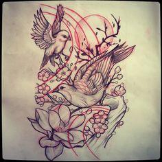 .@inspirationstattoos | For tomorrow's side piece.#tattoodesign #birds #cherryblossom #sketch #illust...