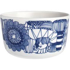 "Marimekko Siirtolapuutarha Blue and White 3.75"" Bowl by Crate & Barrel"