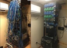 Before and after job cleaning up a network rack. Very tidy now!
