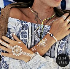 Wanderlust-for the dreamer in you! Flash Tattoos X Pen Hearts Paper features whimsical script & henna style bracelets in white, gold & silver-Shop Now