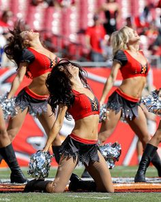 Cheerleaders of the Tampa Bay Buccaneers performs during the game against the Los Angeles Rams at Raymond James Stadium on September 25 2016 in Tampa...