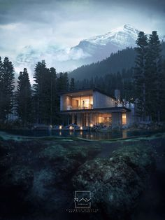 architecture architecture visualization The Place Beyond Pines Architecture Panel, Architecture Visualization, Architecture Portfolio, Interior Architecture, Drawing Architecture, Architecture Diagrams, 3d Max Vray, Modern Mansion, Forest House