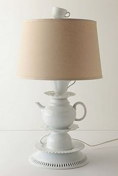dish lamp tutorial.. tooo cute!  Take note of her suggestion to use a ruffled bowl at the bottom to avoid drilling another hole!  Her's is cuter.. this one is from anthropologie and cost way to much!