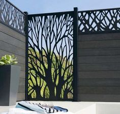 Giacca a vento retrattile Leroy Merlin Beau 11 Breeze Vue Terrasse Leroy . Main Gate Design, Door Gate Design, Fence Design, Privacy Screen Outdoor, Privacy Screens, Modern Fence, Grill Design, Backyard Patio, Outdoor Living