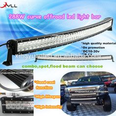 50 inch 288W led offroad light bar are on promotion! Curved Epistar Led Light Bars for truck, jeep, police