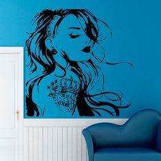 WALL VINYL STICKER  DECALS ART MURAL GIRL TATTOO  DA65 #STICKALZ #MuralArtDecals