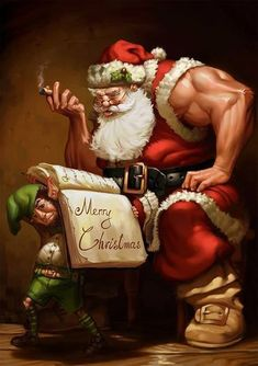 Without Santa, which X'mas design is perfect? Check this Creative Illustrations Of The Christmas Man: Santa Claus. Workout Memes, Gym Memes, Fitness Memes, Funny Workout, Workout Fitness, Merry Christmas Eve, Christmas Art, Dark Christmas, Christmas Scenes