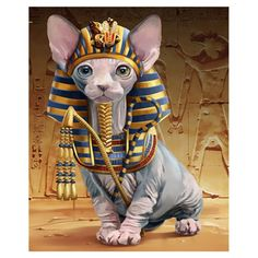 DIY Diamond Embroidery Animals Pharaoh Avatar Diamond Sphinx Cat Diamond Painting with Square Stones Wall Decor Gato Sphinx, Chat Sphynx, Egyptian Cats, Cross Paintings, Cat Drawing, I Love Cats, Pet Portraits, Cat Art, Cats And Kittens
