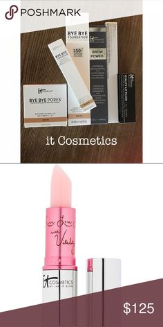 it Cosmetics All brand new & at a $179+ value! Medium Bye Bye Pores Tinted Skin-Blurring Finishing Powder, Medium Bye Bye Concealer, Medium Bye Bye Foundation, Universal Brow Powder, Black Waterproof Gel Eyeliner, Vitality Lip Flush in Je Ne Sais Quoi. I love this whole line but had auto delivery & just wasn't using the products fast enough! Makeup